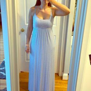 Baby Blue White Striped Maxi Dress